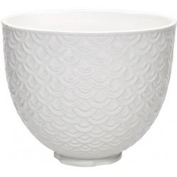 """Керамическая чаша для миксера 4,7L, """"Marmade lace"""", белый, без ручки"""