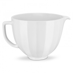 Miksera trauks keramika 4,7L, matēti baltas, reljefas svītras