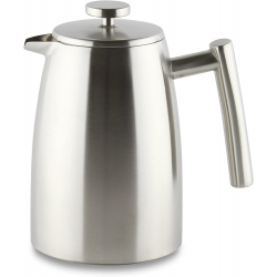 Grunwerg Café Ole Stal Belmont 8 Cup Double Walled Cafetiere Coffee Maker, Stainless Steel, Satin Finish, 1L