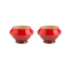 Le Creuset zupas trauks ar ausīm 0,6 l, kompl. 2 gb, sarkans