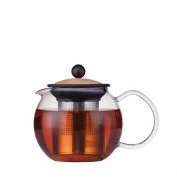 Bodum tējas spiedkanna Assam, metāla filtrs, korķis
