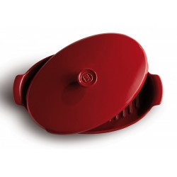 Papillote trauks cepeškrāsnij ar vāku 41x24 cm/2,2L, sarkans, melns