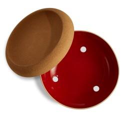 Баночка для чеснока с пробковой крышкой 13,4см / 1л, гранат красный, бежевый, серый, белый