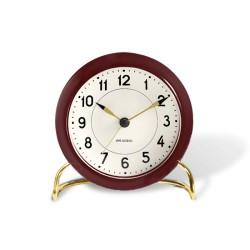 Arne Jacobsen Station lauakell+alarm, burgundia/valge