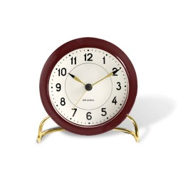 Настольные часы Arne Jacobsen Station + будильник, бордовый / белый