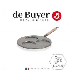 De Buyer tērauda pankūku panna B Bois Mineral B, 27cm/3 pankūkām, koka rokturis
