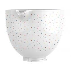 """KitchenAid mikseri keraamiline kauss """"Cofetti sprinkle"""" valge 4,7 l"""